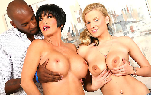 Shay Foxxx and Haley Cummings in hot interracial threesome action on watching my mom go black blog